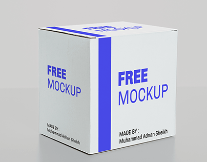 FREE SQUARE WHITE BOX MOCKUP