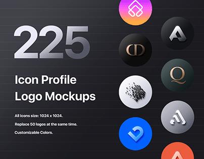 225 Icon Profile Logo Mockups - PSD