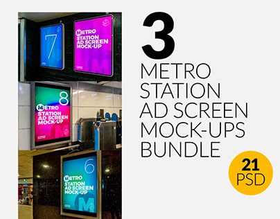 3 Metro Station Ad Screen Mock-Ups Bundle