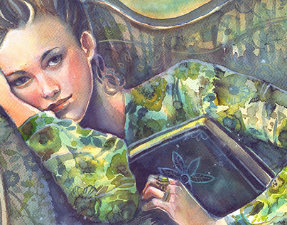 Book lover in green