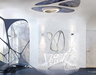 Parametric bathroom with motion sensors smart floor