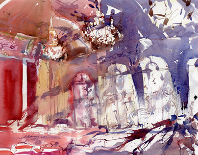 Expressive views in watercolor from Torun, Poland