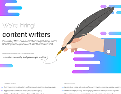 Content writers ad