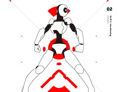 Sci-fi Line drawing
