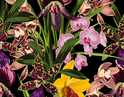 Decorative background, exotic flowers seamless pattern