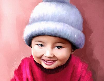 Baby Portrait Illustration