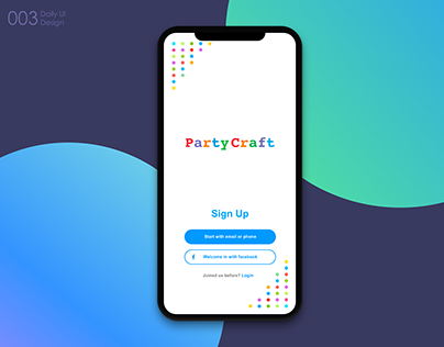 Party Craft Sign Up screen. Daily Design #003