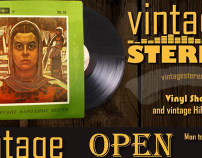 Vintage Stereo BG logo and flyer