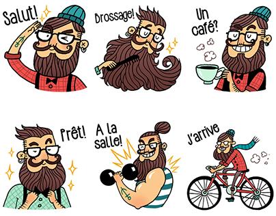 The Beardie Boys (Hipster Men) Stickers