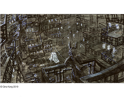 The Library City-pen drawings