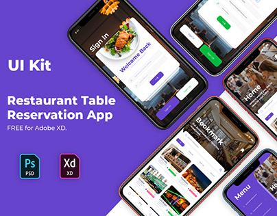 Free App Ui Kit | Restaurant Table Reservation App