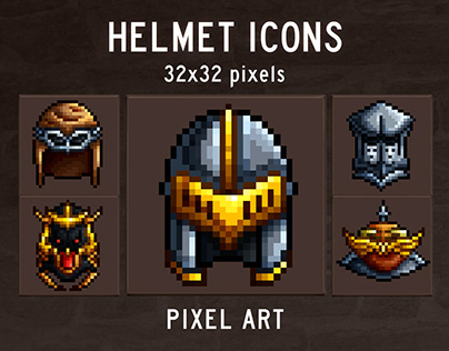 48 Helmet Pixel Art Icons
