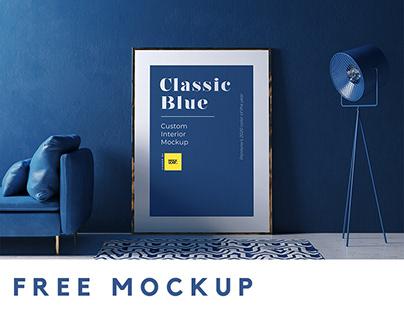 Free Classic Blue Interior Mockup