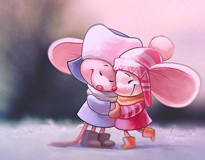 Winter mice stickers
