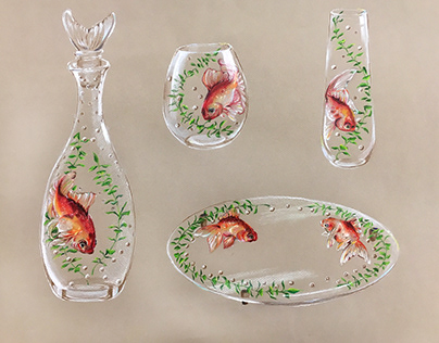 Goldfish and Pearls Glassware Collection