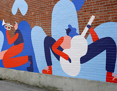 Green alley mural