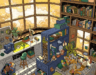 Cozy Afternoon, commissioned Art