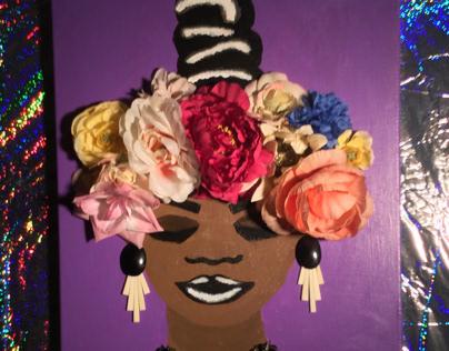 Flower girl acrylic painting