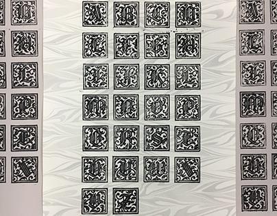 Schwarzlicht Initials: Woodcut Dropcaps