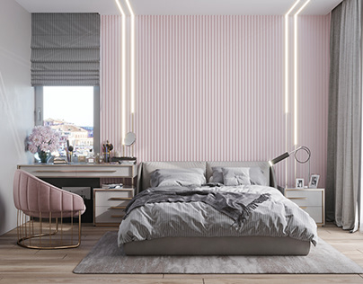 Two bedrooms, design by Dach.arch