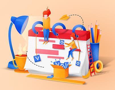 Marketing services illustrations