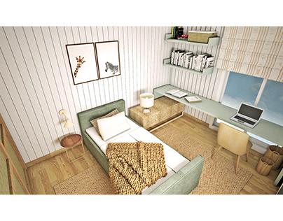 Projeto para o quarto de uma menina adolescente