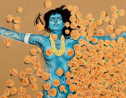 Woman within the Marigolds