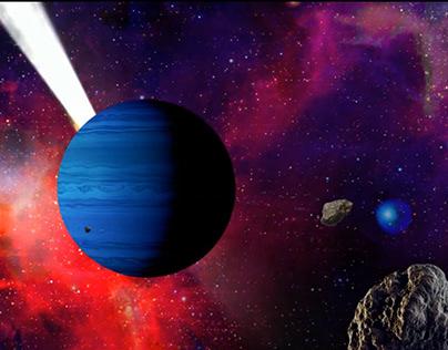 Animación Planeta con Asteroides
