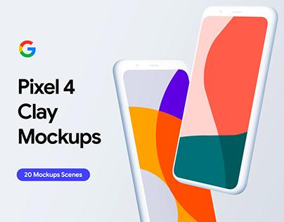 Google Pixel 4 - 20 Mockups Clay Scenes - PSD