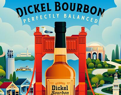 George Dickel Bourbon San Francisco Mural Illustration