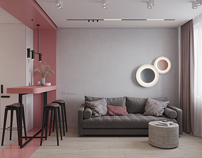 Visualization of the apartment in pink
