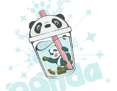 Panda In The Bubble Tea Cup