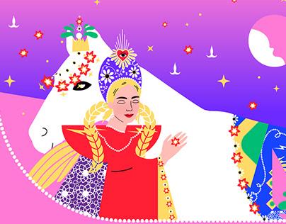Russain woman / fashion vector illustration