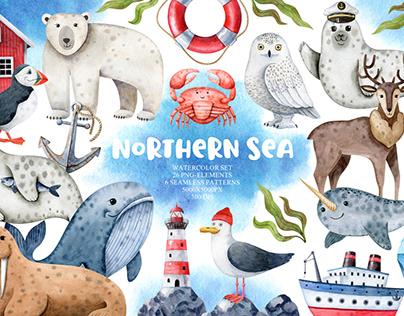 Northern Sea Animals Watercolor Set