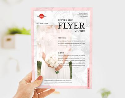 Free Girl Showing Letter Size Flyer Mockup