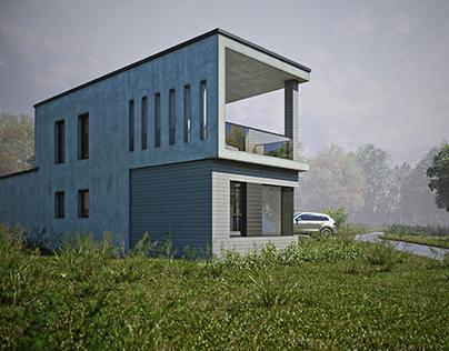 Enebolig prosjektert i betong