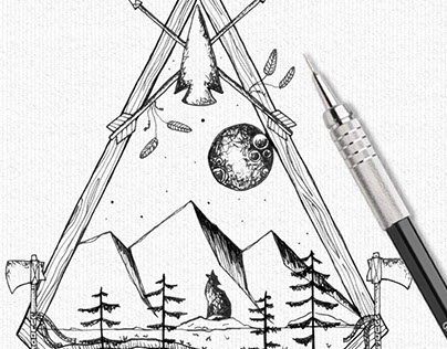 Wolf Howling at the Moon in the Mountains, Ink