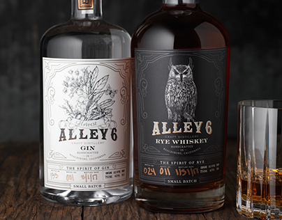 Alley 6 Rye Whiskey and Gin Labels and Packaging Design