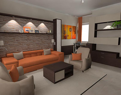 Modern living room with mediterranean features