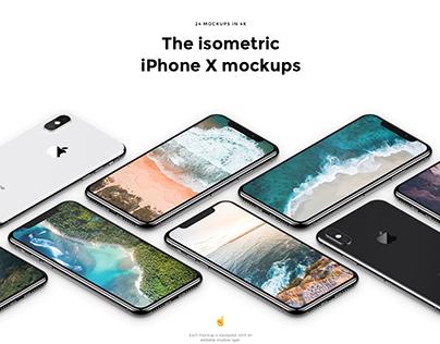 The isometric iPhone X mockups