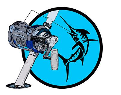 Camiseta con diseño de pesca pez espada