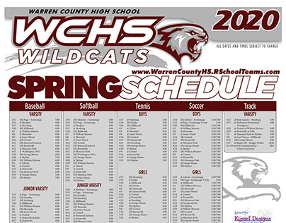 2020 WCHS Spring Athletic Schedule Poster and Pocket