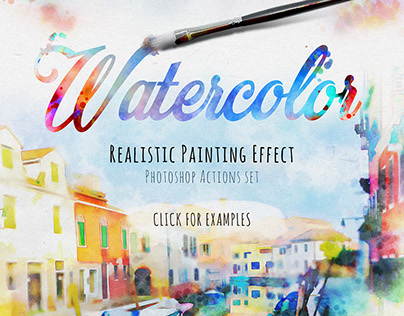 Realistic Watercolor Painting Effect (ps action) — $12