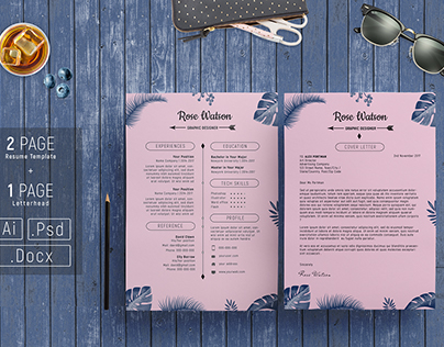 Jungle Blue-Pink Resume Template - CV / Letterhead