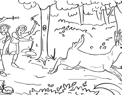 A short story of 2 hunters in Line art