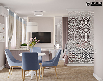 """ONE-ROOM APARTMENT IN THE RC """"LAZURNYY"""" DESIGN PROJECT"""