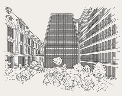 Illustrationen für die Deutsche Pfandbriefbank pbb