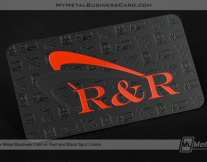 Black Metal Business Card with Etched Pattern