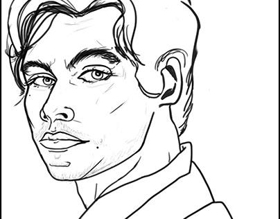 Harry Styles Portrait Sketch b&w