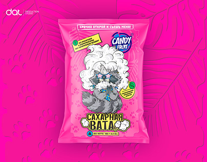 Label design. Candy Fruit. Cotton candy